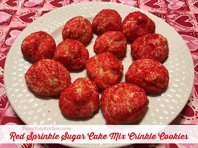 Red Sprinkle Sugar Cake Mix Crinkle Cookies #Recipe