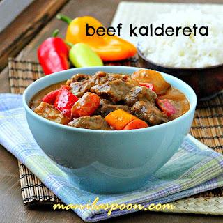 Beef Kaldereta (Kaldereta sa Gata) - Beef Chunks Stewed in Coconut Milk.