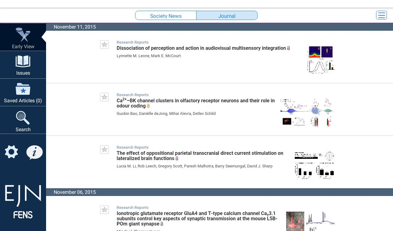 European Jnl of Neuroscience- screenshot