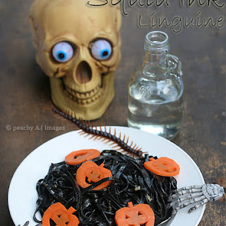 SQUID INK LINGUINE with Jack O' Lantern Carrots