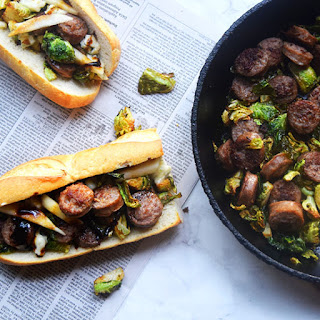 Bratwurst and Brussel Sprout Sandwich