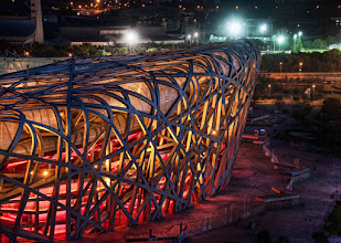 Photo: The Electric Nest  Another photo from Beijing here… I originally set up for a wide-angle shot but also brought the zoom lens to find interesting compositions here and there. To me, it's kind of a fun game to see an awesome structure like this and see how many photos I can create out of the structure. With the nice lighting and clear night, I felt like a fox in the hen house!  #SICInDatabase