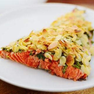 Baked Wild Salmon With Lemon, Parsley And Almonds.