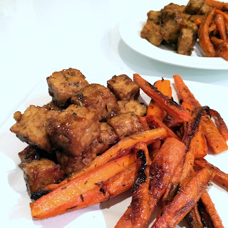 Sticky Orange Tempeh & Maple Thyme Roasted Carrots