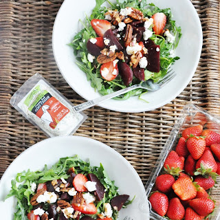 Beet Strawberry and Goat Cheese Arugula Salad (healthy, antioxidants, low-carb, gluten-free).