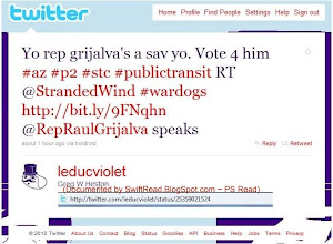 """Photo: Here is one of Rauhauser's so-called militants helping him campaign for Rep. Raul Grijalva by """"re-tweeting"""" Rauhausers post to those who follow him. statement: http://twitter.com/leducviolet/status/25359021524 user http://twitter.com/Leducviolet"""