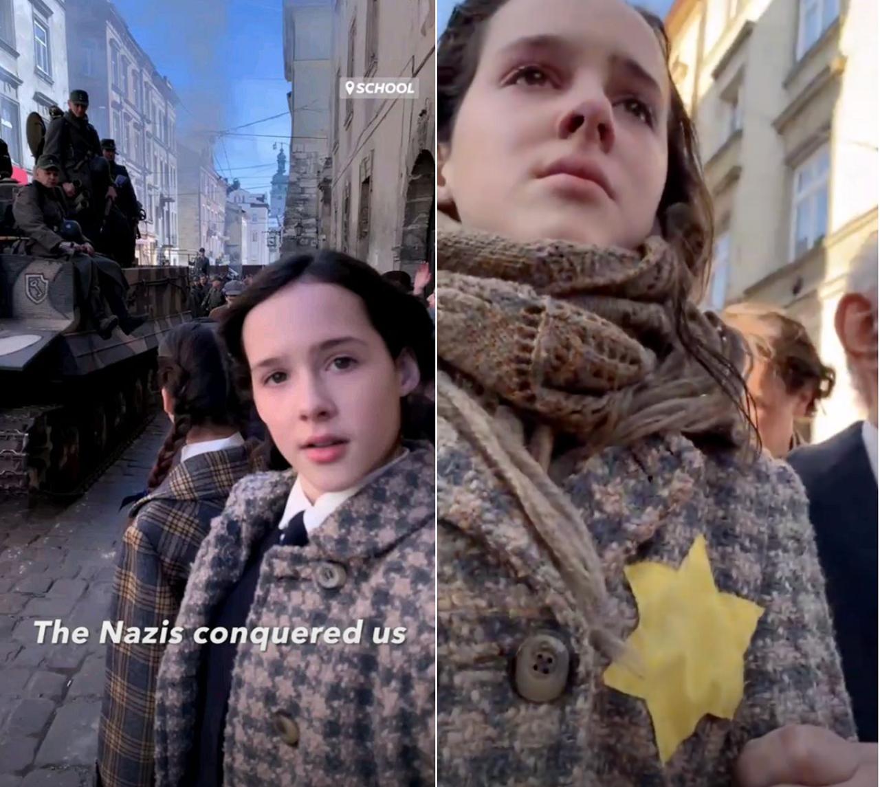 Истории с разницей в несколько дней: на первой в город вступают немецкие танки, на второй евреи уже обязаны носить желтые звезды.