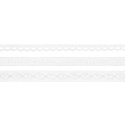 3 st Spetsband vit