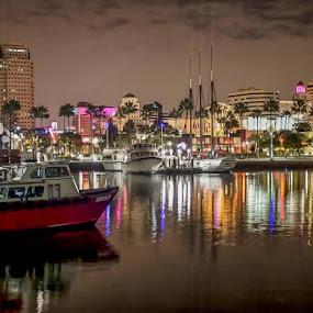 California cool ... Long Beach, Ca. by Tin Tin Abad - City,  Street & Park  Markets & Shops ( reflection, sunset, boats, waterfront, city )