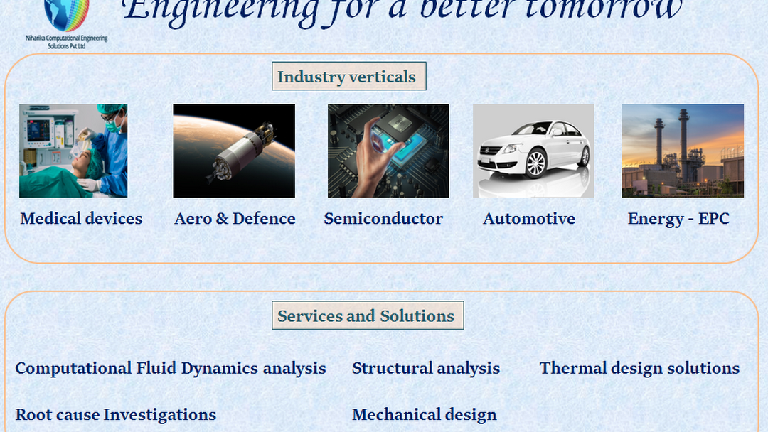 Niharika Computational Engineering Solutions Pvt Ltd Nces Is A Specialized Cfd Practice Company Based In Bangalore India Undertake Cfd Cae Fea Fem Services To Clients Of India And Abroad