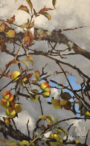 Neige aux pommes. oil on board, 45x70cm
