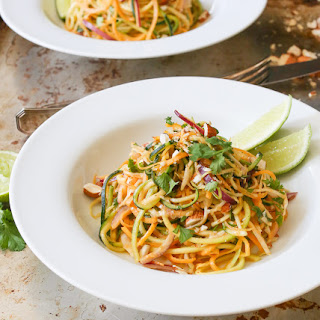 Zucchini Noodle Salad with Spicy Almond Dressing