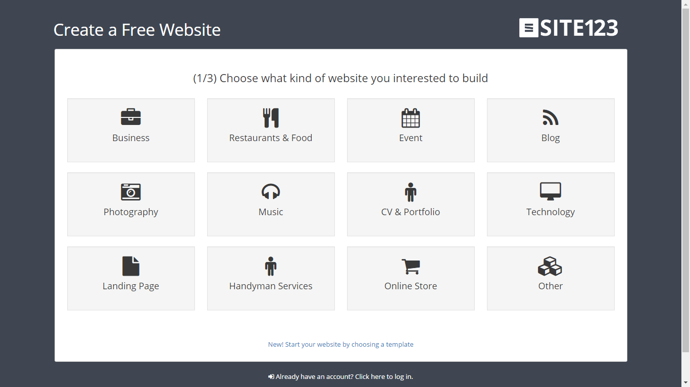 choose your website type: landing page