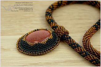 Photo: Pendant with Aventurine in Black and Amber Colours - Авантюрин в кольорах бурштину