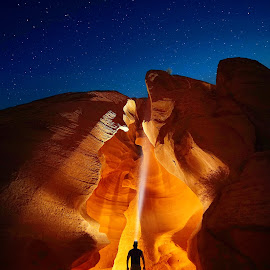 Enter the Cave by Craig Bill - Landscapes Travel ( canyon, slot canyon, arizona, nightscape, hiking, night photography )
