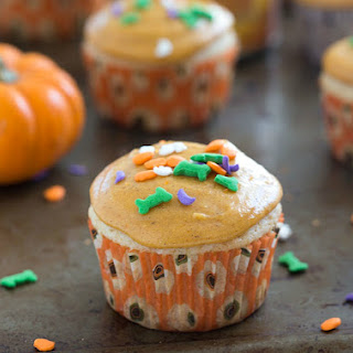 Small-Batch Vanilla Cupcakes with Pumpkin Spice Frosting