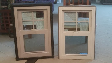 Photo: Double Hung verses Single Hung Vinyl Replacement Windows.  Note that the glass itself is bigger on the single hung.  These are the same size overall even though the double hung has a case around it.  A double hung operates from the top and the bottom while a single hung operates from the bottom only.  Any operating sash will tilt in for cleaning and warranty replacement.  Double hungs are often cheaper due to that ease of sash replacement but the glass sacrifice is part of that equation as well.   These are NT Window Energy Master Vinyl Replacement Windows built in Mansfield Texas.  Single Hungs have higher performance numbers.