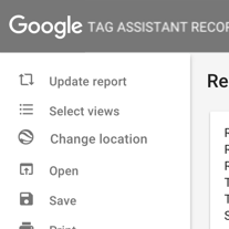 Tag assistant menus. Change location is 3rd from the top