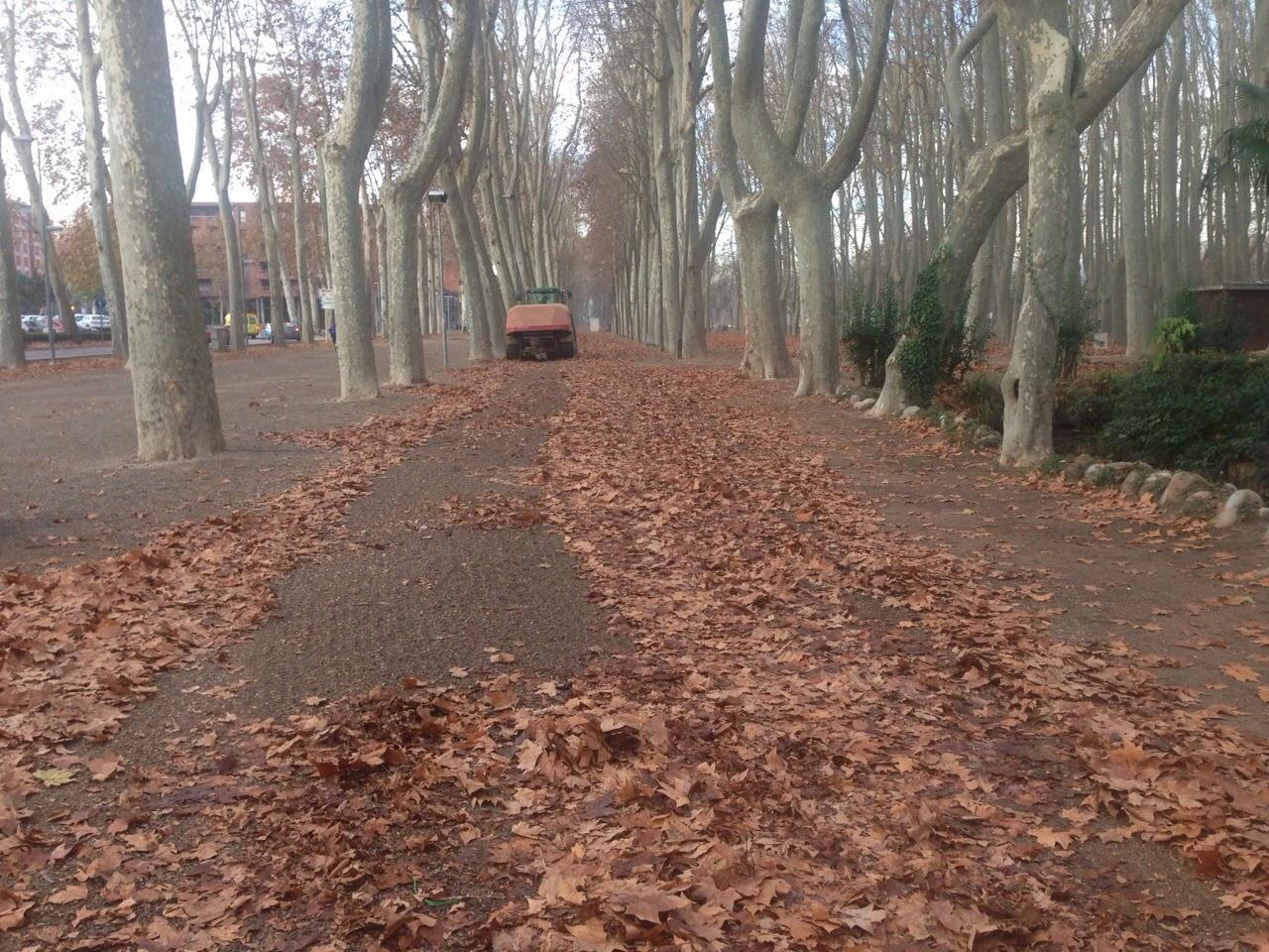 Photo: Embalant fulles al Parc de la Devesa de Girona amb la Bio de Kverneland 19/12/14
