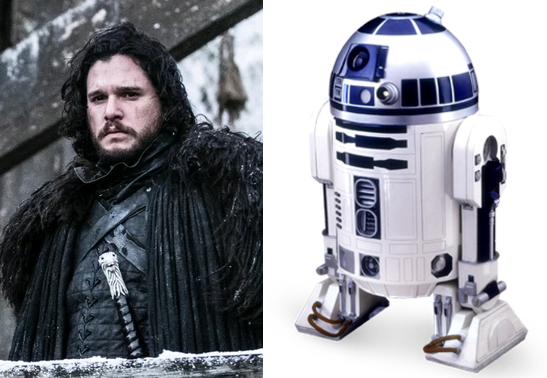 On the left is a man dressed in furs and tunic standing outside in winter carrying a sword. (Jon Snow from Game of Thrones) Ont the right is an image of a small white and blue robot (R2-D2 from Star Wars) Neither have anything to day with Geo AI and medicine.