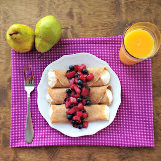 Whole Wheat Crepes with Pear Compote and Greek Yogurt Filling.