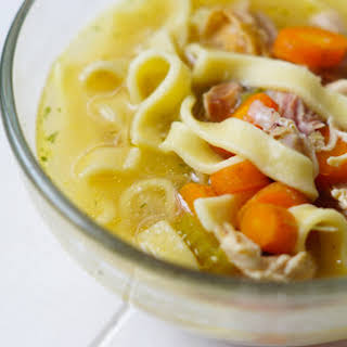 10 Minute Pressure Cooker Chicken Noodle Soup.