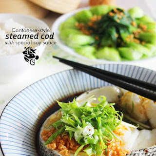 CANTONESE-STYLE STEAMED COD WITH SPECIAL SOY SAUCE.