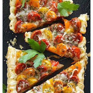 Vegan Tomato & Caramelized Onion Puff Pastry Tart.