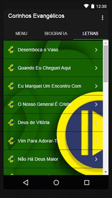 Corinhos Evangélicos Musica - screenshot