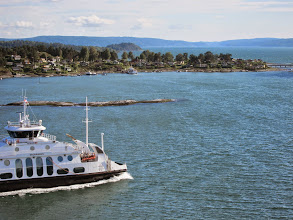 Photo: Car ferry and village