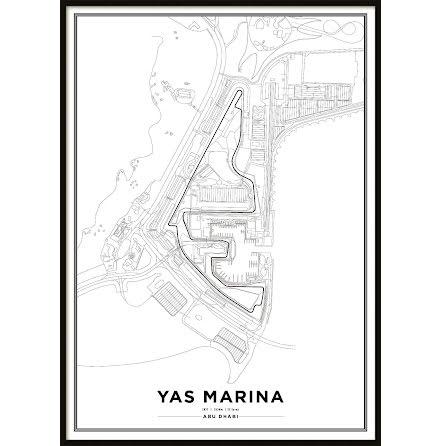 Poster, Yas Marina Circuit Formula 1 Print White