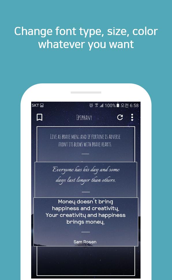 Скриншот Epiphany - quotes lock screen