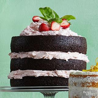 Dark Chocolate Cake with Fresh Strawberry Buttercream.