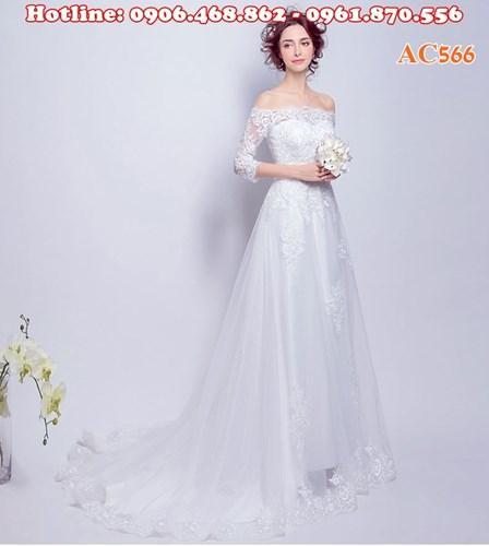 Váy cưới dang suông, phong cách đơn giản AC566