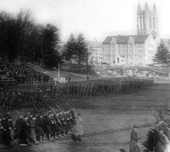 Photo: Student Army Training Corps, 1918 in Brighton.  Photo courtesy of the Burns Library archives.