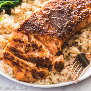 Honey Soy Sauce Glazed Salmon.