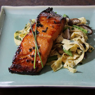 Sake Glazed Salmon with Garlic Chive Egg Noodles.
