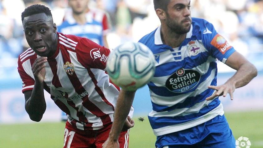 Appiah en el Deportivo-Almería.