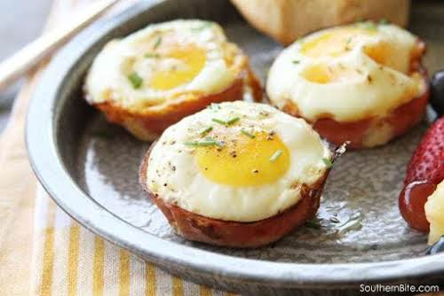 "Baked Ham and Pimento Cheese Egg Cups ""Y'all, these Baked Ham and..."