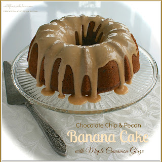 Chocolate Chip & Pecan Banana Cake with Maple Cinnamon Glaze