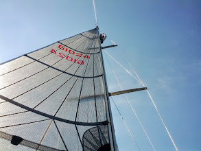 Photo: Pete at the masthead attempting to free a jammed halyard