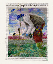 Photo: Mental Issues To Political Margins, Argues Water color and gold leaf on newspaper, (108 x 146 mm).