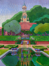 """Photo: """"Filoli Clocktower"""", acrylic painting 16"""" x 12"""" by Nancy Roberts, copyright 2015. Private collection."""