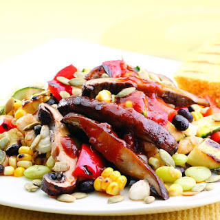 Black Bean & Hominy Succotash with Barbecued Portobello Mushrooms Recipe