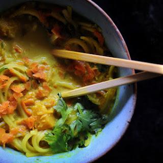 Butternut Squash Coconut Curry Rice Noodle Soup (Gluten Free, Vegan).