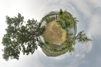 Photo: A stereographic mini planet of Cherry Holm, an island on Ullswater in the Lake District, from July 2013.