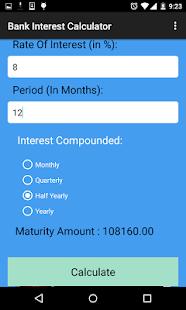 bank interest calculation calculator