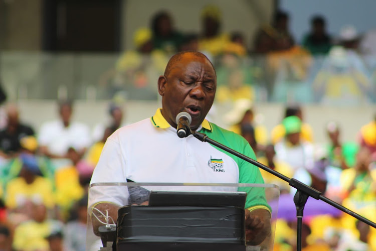 President Cyril Ramaphosa at the Moses Mabhida Statdium in KwaZulu-Natal where he delivered the ANC's 2019 election manifesto on January 12 2019