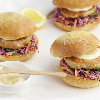 Tuna Burgers with Coleslaw.