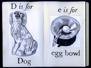 Photo: Philippa Robbins - folding book primer - D is for Dog; e is for egg bowl